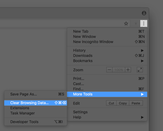 """Screenshot of the Chrome menu, highlighting """"More Tools"""" and """"Clear Browsing Data..."""""""