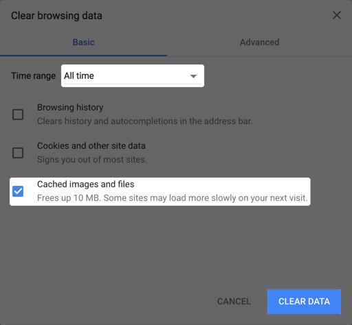 "Screenshot of the ""Clear browsing data"" window"