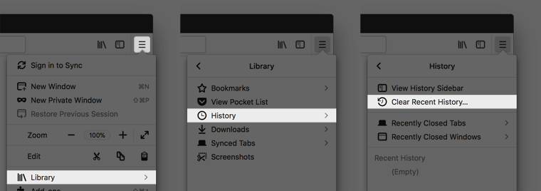 """Screenshot of the Firefox menu, highlighting Library, History, """"Clear Recent History..."""""""