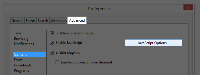 "Screenshot of the Preferences window, highlighting Advanced, Content and ""JavaScript Options..."""
