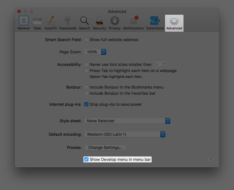 """Screenshot of the Preferences window, highlighting Advanced and the """"Show Develop menu in menu bar"""" option"""