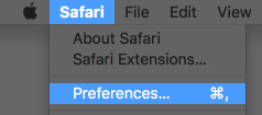 "Screenshot of the Safari menu, highlighting ""Preferences..."""